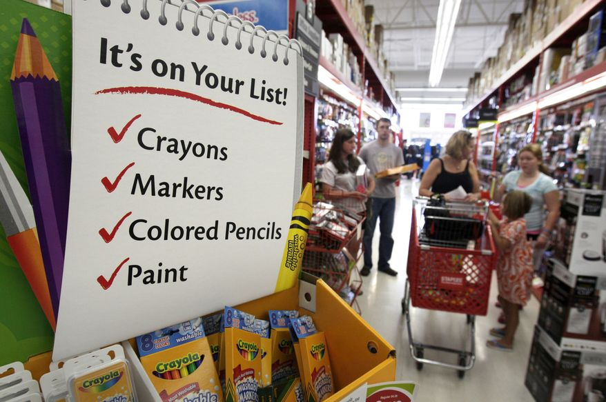 In this photograph taken Aug. 1, 2010, back-to-school shoppers crowd the aisles at a Staples store in Little Rock, Ark. The pace of consumer spending stalled in June and personal incomes failed to increase, further evidence that the economy slowed significantly in the spring. (AP Photo/Danny Johnston)