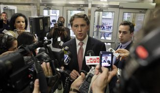 Rick Lazio, Republican candidate for governor of New York, speaks to reporters about his opposition to a proposal to build a mosque near the site of the World Trade Center during a Landmarks Commission hearing, Tuesday, July 13, 2010 in New York. (AP Photo/Mary Altaffer)