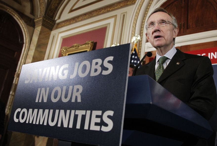 Senate Majority Leader Harry Reid, Nevada Democrat, speaks during a news conference on Capitol Hill in Washington on Wednesday, Aug. 4, 2010, to discuss a bill that would cover more health care costs and fund more state and local government jobs. (AP Photo/Manuel Balce Ceneta)