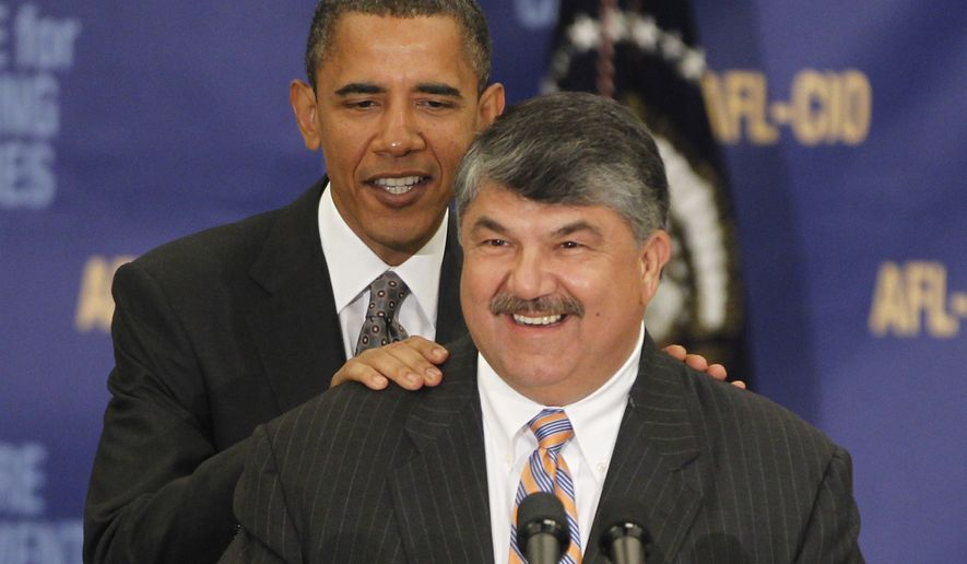 President Obama is introduced by AFL-CIO President Richard Trumka before he spoke about jobs and the economy during an address before the AFL-CIO Executive Council in Washington, Wednesday, Aug. 4, 2010. (AP Photo/Charles Dharapak)