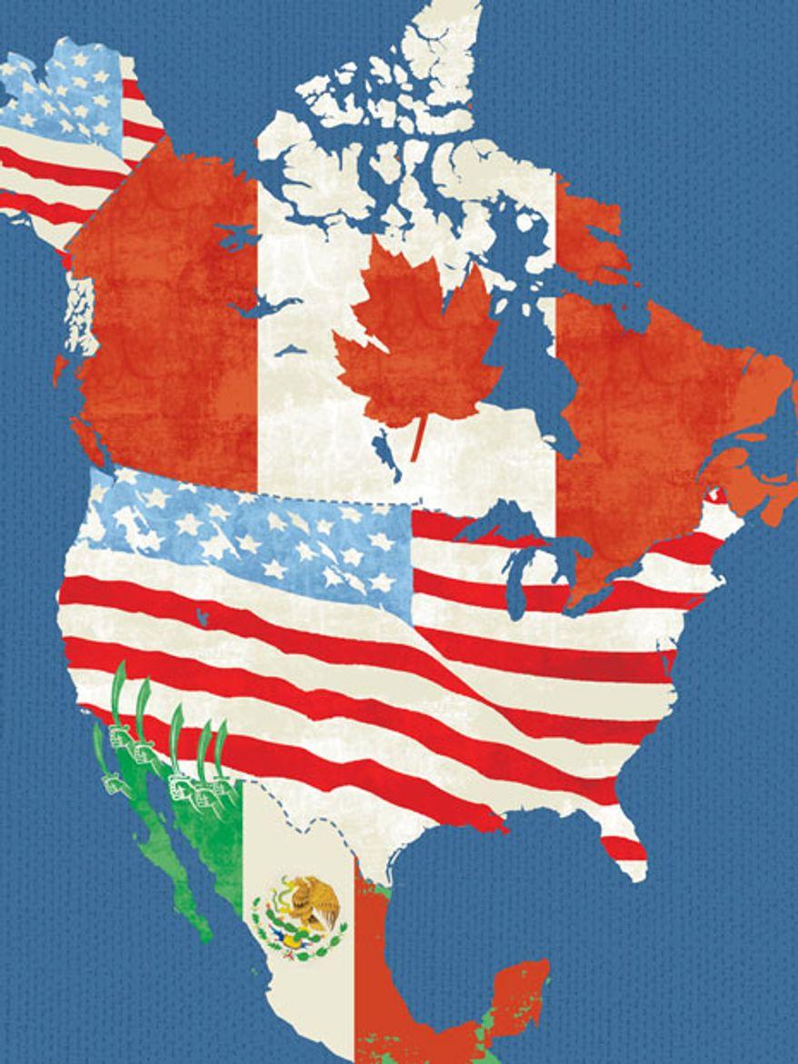 Illustration: Border by Linas Garsys for The Washington Times