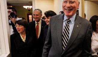 Associated Press Senate Judiciary Committee Chairman Patrick J. Leahy of Vermont joins fellow Senate Democrats (from left) Amy Klobuchar of Minnesota, Charles E. Schumer of New York, and Dianne Feinstein of California after Elena Kagan's confirmation vote.
