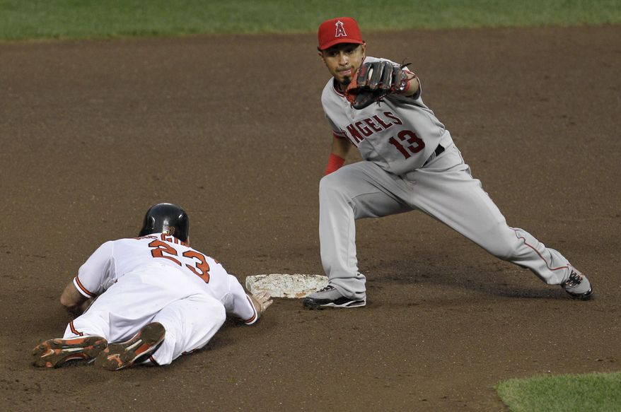 ASSOCIATED PRESS Baltimore Orioles' Ty Wigginton (23) slides safely back into second base as Los Angeles Angels second baseman Maicer Izturis makes the catch on a pickoff-attempt during the fourth inning of a baseball game, Thursday, Aug. 5, 2010, in Baltimore.