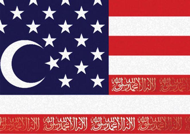 Illustration: Islamerica by Alexander Hunter for The Washington Times