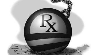 Illustration: Obamacare by Alexander Hunter for The Washington Times