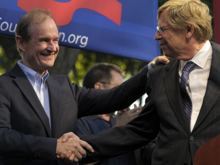 Lawyers David Boies, left, and Theodore Olson, shake hands at a public rally on Wednesday, Aug. 4, 2010, in West Hollywood, Calif. Gay rights supporters turned out in droves to celebrate a federal judge's overturning of California's Proposition 8, a same-sex marriage ban, a landmark case which could eventually land before the U.S. Supreme Court to decide if gays have a constitutional right to marry in America. (AP Photo/Adam Lau)