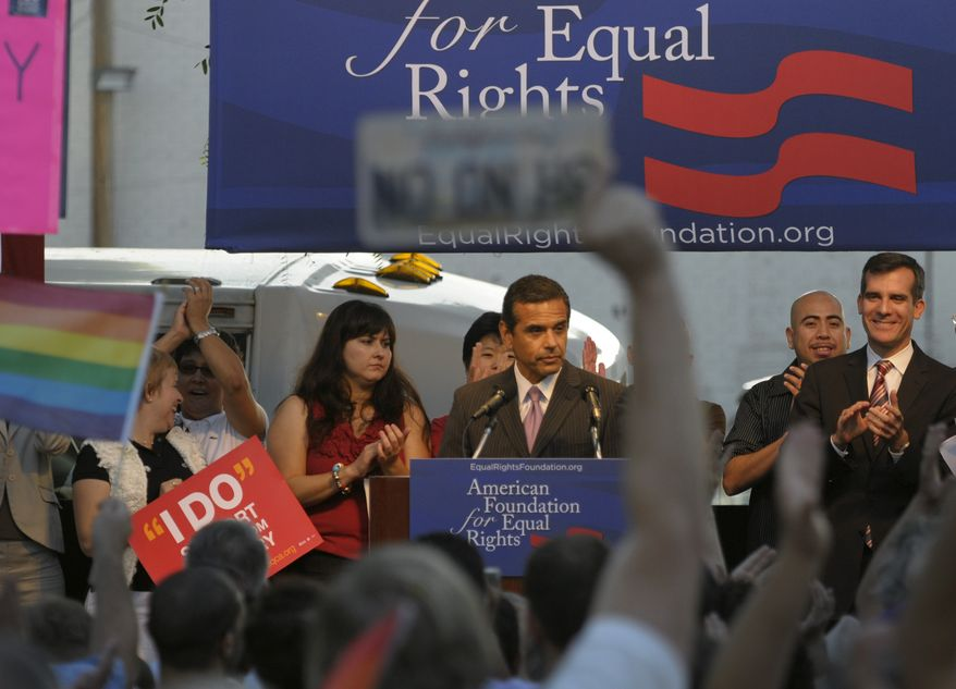 Los Angeles Mayor Antonio Villaraigosa, center, speaks at a public rally on Wednesday, Aug. 4, 2010, in West Hollywood, Calif. Gay rights supporters turned out in droves to celebrate a federal judge's overturning of California's Proposition 8, a same-sex marriage ban, a landmark case which could eventually land before the U.S. Supreme Court to decide if gays have a constitutional right to marry in America. (AP Photo/Adam Lau)