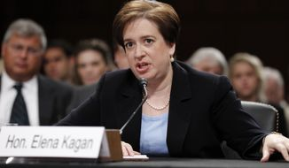 In this June 30, 2010 file photo, Supreme Court nominee Elena Kagan testifies on Capitol Hill in Washington, before the Senate Judiciary Committee hearing on her nomination. On Thursday, Aug. 5, the Senate confirmed Kagan as the 112th justice. (AP Photo/Alex Brandon, File)