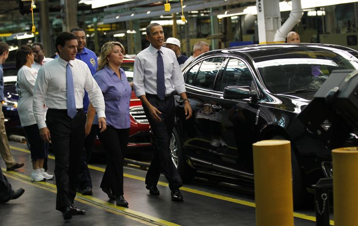President Obama tours the Ford Motor Co. Chicago assembly plant with Ford executive Mark Fields (left) and plant manager Jan Allman on Thursday, Aug. 5, 2010. The Chicago plant will begin production of a new 2011 Ford Explorer. (AP Photo/Pablo Martinez Monsivais)