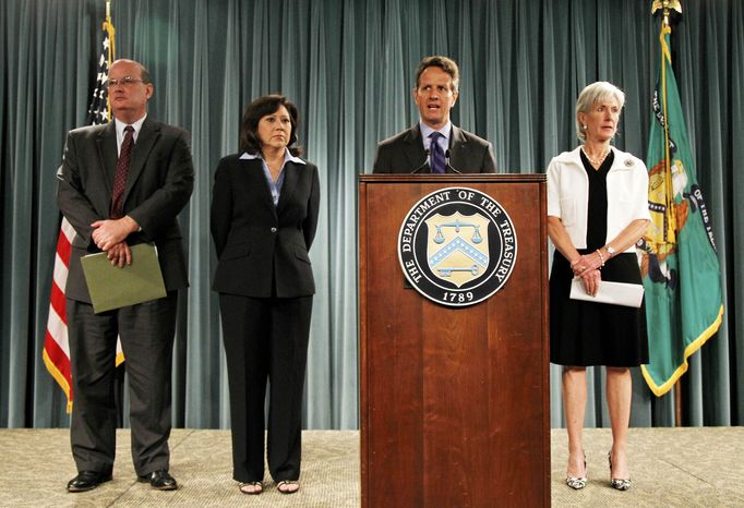 Treasury Secretary Timothy Geithner, second from right, speaks about the Social Security and Medicare Trustees Report, Thursday, Aug. 5, 2010, at the Treasury Department in Washington. Joining him, from left are, Social Security Administration Commissioner Michael J. Astrue, Labor Secretary Hilda Solis, and Health and Human Services Secretary Kathleen Sebelius. (AP Photo/Charles Dharapak)