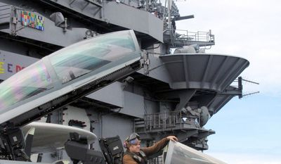Associated Press Crew members of the USS George Washington park an F/A-18. The Pacific balance of power may shift soon with China's development of a 'game-changing' weapon.