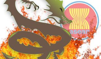 Illustration: ASEAN dragon by Greg Groesch for The Washington Times
