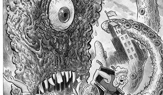 Illustration: Health monster by Alexander Hunter for The Washington Times