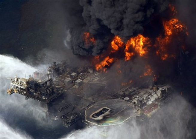 The Deepwater Horizon oil rig can be seen burning in the Gulf of Mexico off the coast of Louisiana on April 21, 2010. (Associated Press)