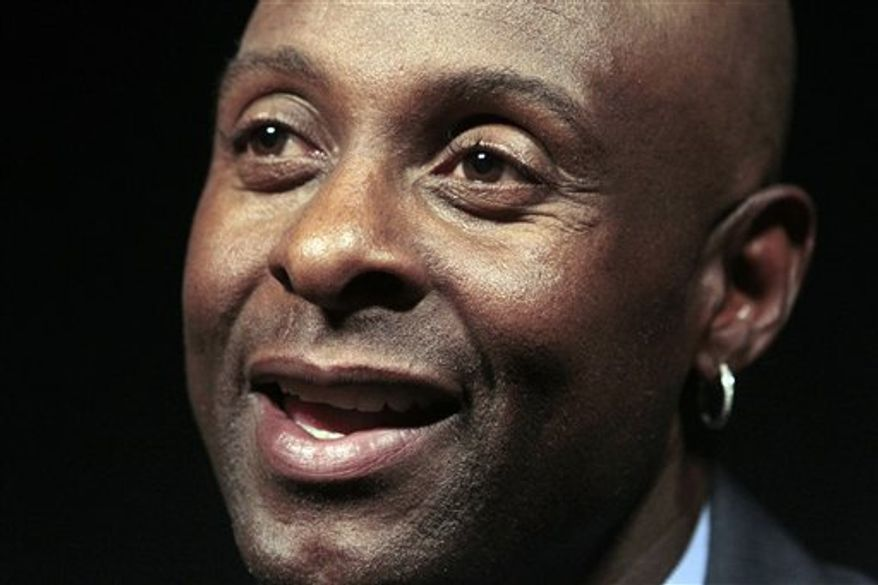 Former NFL football player Jerry Rice responds to questions during a news interview Tuesday, Aug. 3, 2010  in New York.  Rice will be inducted into the Pro Football Hall of Fame on Saturday, Aug. 7.  (AP Photo/Frank Franklin II)