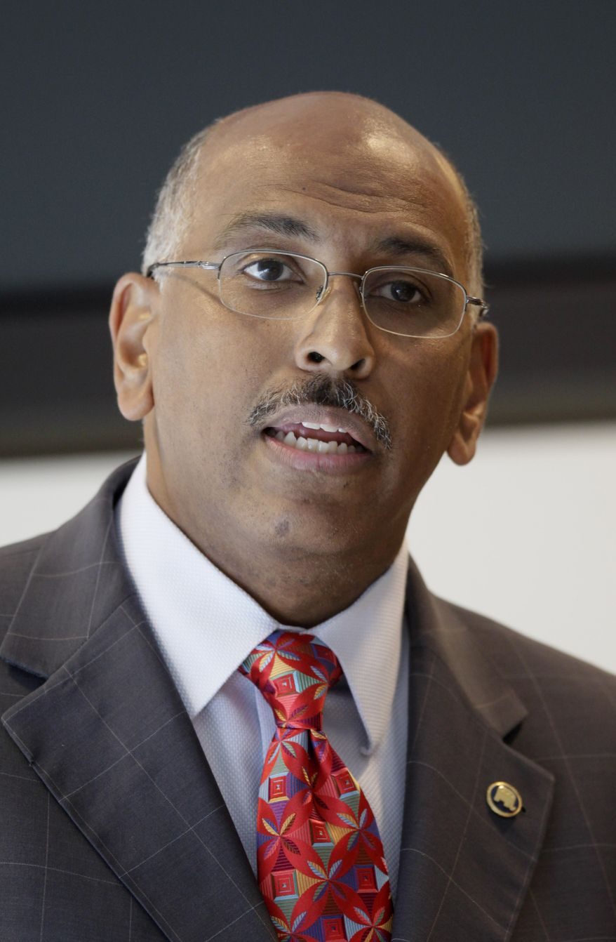 In this June 24, 2010 file photo, Republican National Committee Chairman Michael Steele speaks to the San Francisco Chamber of Commerce in San Francisco. (AP Photo/Jeff Chiu, File)