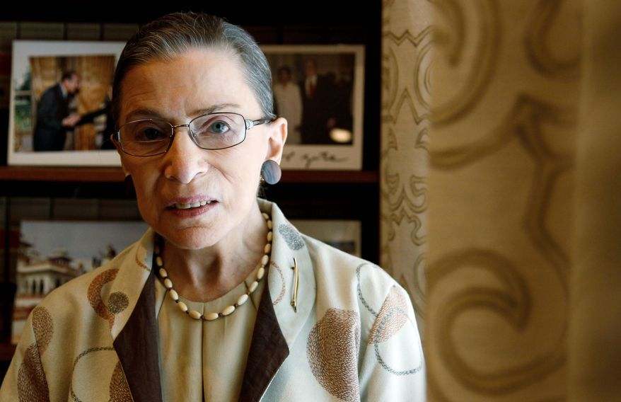 FILE - In this Aug. 3, 2010 file photo, Supreme Court Justice Ruth Bader Ginsburg is photographed in her chambers in Washington. (AP Photo/Alex Brandon, File)