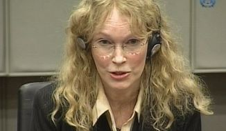 Actress Mia Farrow is seen in an image taken from TV as she testifies at the Charles Taylor war crimes trial in Leidschendam, Netherlands, on Monday, Aug. 9, 2010. (AP Photo/Special Tribunal for Sierra Leone via APTN)