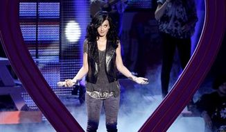 Host Katy Perry performs at the Teen Choice Awards on Sunday, Aug. 8, 2010 in Universal City, Calif. (AP Photo/Matt Sayles)