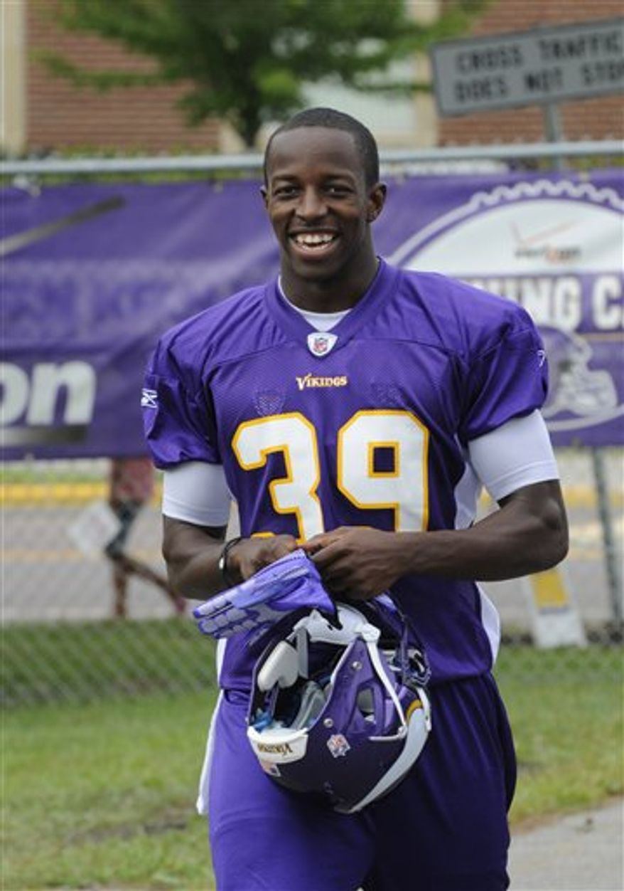 In this July 30, 2010, photo, Minnesota Vikings backup safety Husain Abdullah is shown during the NFL team's training camp in Mankato, Minn. Abdullah, a Muslim, puts his faith before football and will observe the Islamic holiday of Ramadan starting Wednesday with a month of daytime fasting. (AP PhotoJim Mone)