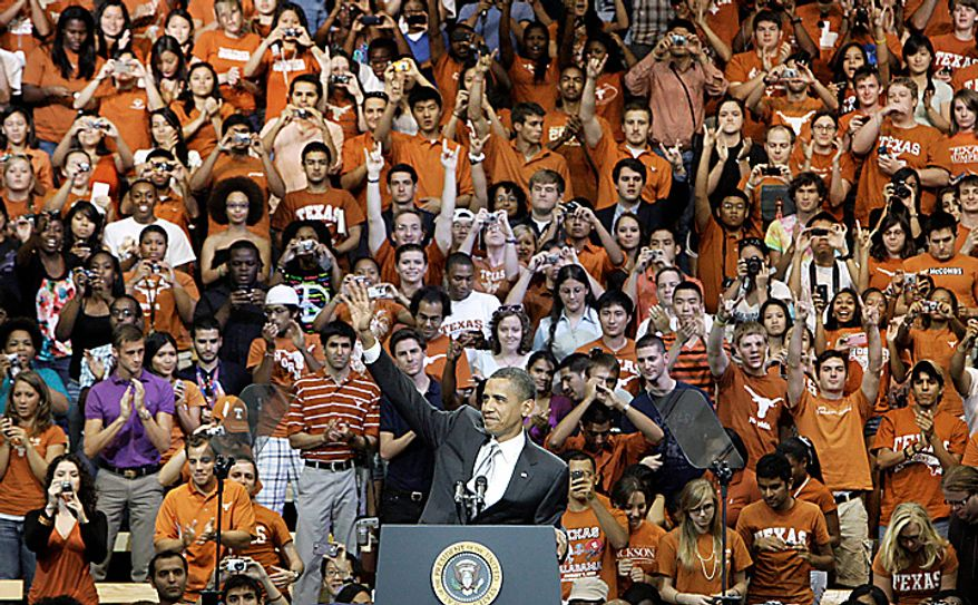 President Barack Obama waves during a speech at Gregory Gym at the University of Texas in Austin, Texas, Monday, Aug. 9, 2010.  (AP Photo/LM Otero)