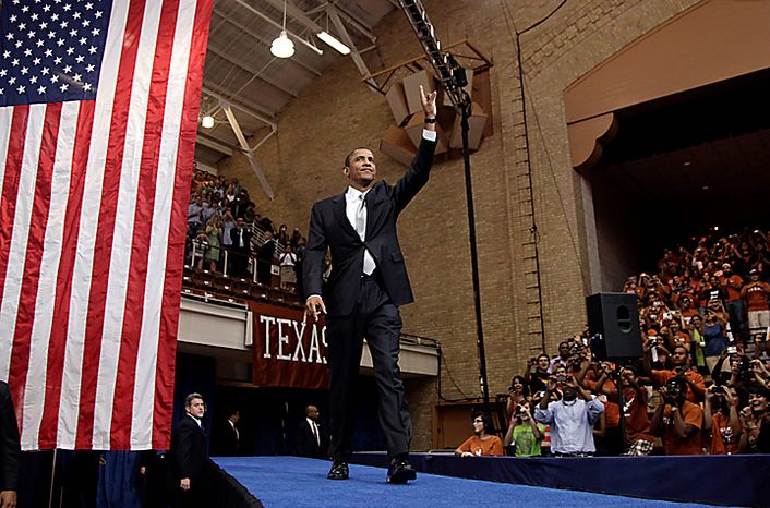 President Barack Obama arrives to speak at the University of Texas in Austin, Texas, Monday, Aug. 9, 2010. (AP Photo/Carolyn Kaster)