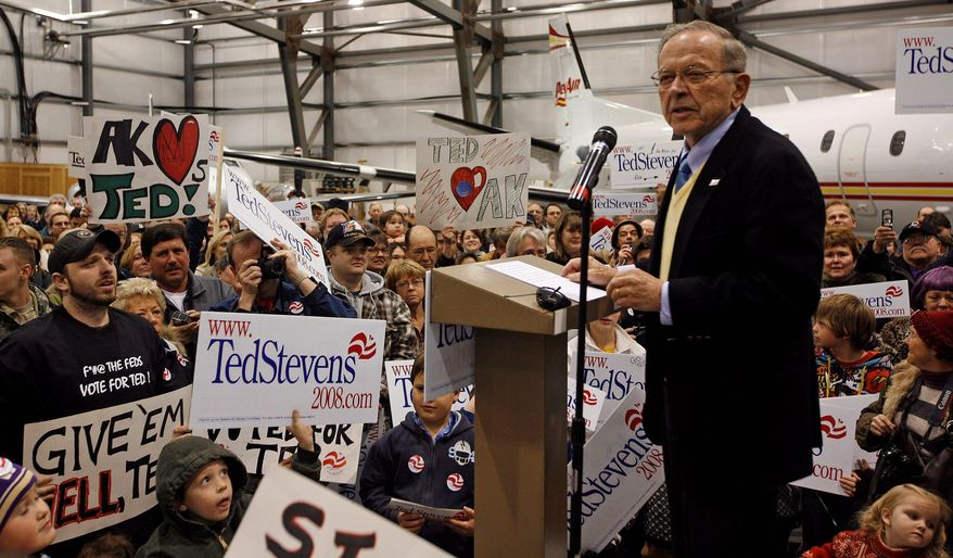 Sen. Ted Stevens, Alaska Republican, talks to supporters in 2008 at a rally welcoming him home. Stevens, a senator from 1968 to 2009, died in a plane crash outside Dillingham, Alaska, on Monday at the age of 86. (Associated Press)