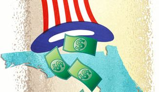 Illustration: Voter money by Greg Groesch for The Washington Times