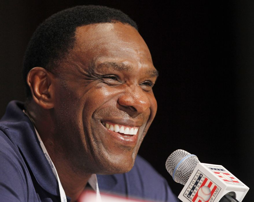 ASSOCIATED PRESS Andre Dawson smiles during a news conference in Cooperstown, N.Y., on Saturday, July 24, 2010.