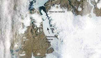 This Aug. 5, 2010 satellite image provided by NASA shows an ice island that has broken off the Petermann Glacier in northern Greenland. A University of Delaware researcher says the floating ice sheet covers 100 square miles (260 sq. kilometers) _ more than four times the size of New York's Manhattan Island. (AP Photo/NASA)