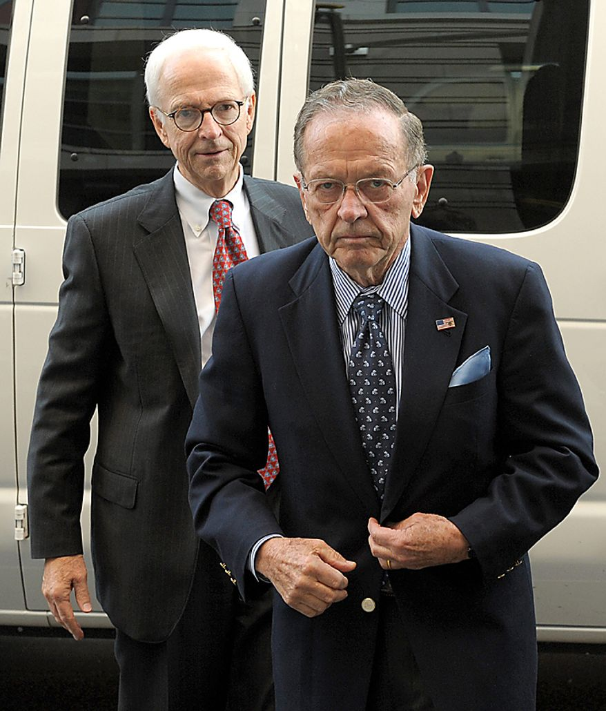 Sen. Ted Stevens (R-AK) (R), seen in this September 22, 2008 file photo in Washington, was on board a small plane that crashed on August 9, 2010 in rural Dillingham, Alaska. Ex-NASA chief Sean O'Keefe was also believed to be on board the aircraft and it is unknown if there are any survivors. UPI/Roger L. Wollenberg/File