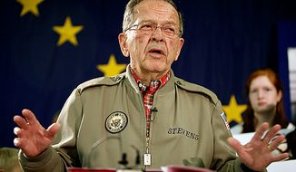 ** FILE ** In this Aug. 4, 2008, file photo, Sen. Ted Stevens, R-Alaska, speaks in Anchorage, Alaska, announcing that he is running for re-election. Stevens was believed to be aboard a plane that crashed amid southwest Alaska's remote mountains and lakes, authorities said Tuesday, Aug. 10, 2010. (AP Photo/Al Grillo, File)