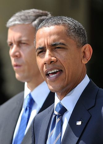 President Barack Obama delivers remarks on teachers jobs and House bill H.R. 1586 Education Jobs and Medicaid Assistance Act in the Rose Garden at the White House in Washington on August 10, 2010. Obama was joined by Education Secretary Arne Duncan. UPI/Kevin Detsch