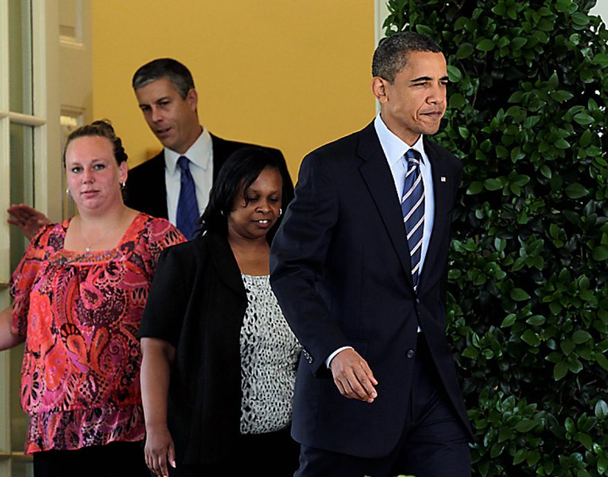President Barack Obama, followed by teachers and Education Secretary Arne Duncan, walks to the  Rose Garden of the White House in Washington, Tuesday, Aug. 10, 2010, to urge the House to pass legislation that could help keep 160,000 educators on the job. From left are: Shannon Lewis, of  Romney, W. Va., who was a special education instructor who lost her job in June when her position was cut due to lack of funding,  Duncan, and Rachel Martin who taught kindergarten in Richton Park, Ill. until she was laid off in March. (AP Photo/J. Scott Applewhite)