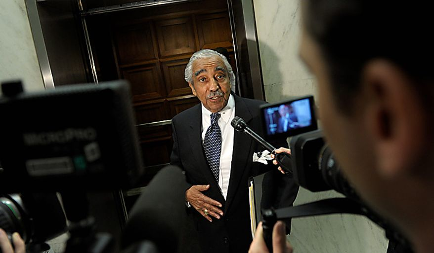 Rep. Charles Rangel, D-N.Y., talks with reporters on his way to the elevator on Capitol Hill in Washington, Tuesday, Aug.  10, 2010. (AP Photo/Susan Walsh)
