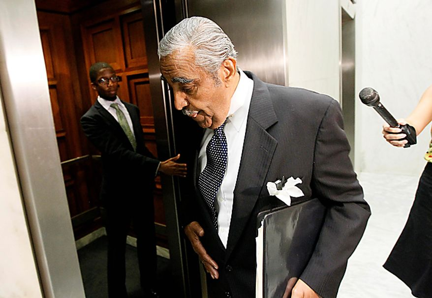 Rep. Charles Rangel, D-N.Y., gets in the elevator on Capitol Hill in Washington, Tuesday, Aug. 10, 2010. (AP Photo/Alex Brandon)
