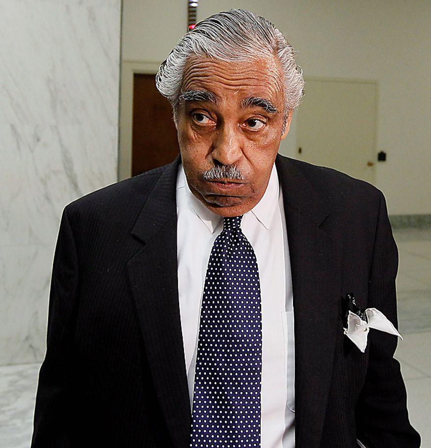 Rep. Charles Rangel, D-N.Y. waits for an elevator on Capitol Hill in Washington, Tuesday, Aug. 10, 2010. (AP Photo/Alex Brandon)