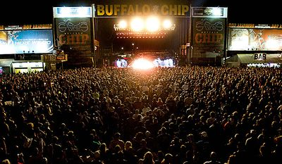 The Buffalo Chip Campground concert grounds is packed Monday, Aug. 9, 2010 as thousands of bikes and bikers fill the infield in for the  ZZ Top performance at the 70th Annual Sturgis Motorcycle Rally.  (AP Photo/Steve McEnroe)