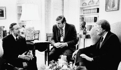 ASSOCIATED PRESS PHOTOGRAPHS President Carter (right) chats with acting Chicago Mayor Michael Bilandic (left) and Rep. Dan Rostenkowski at the White House on Feb. 7, 1977.