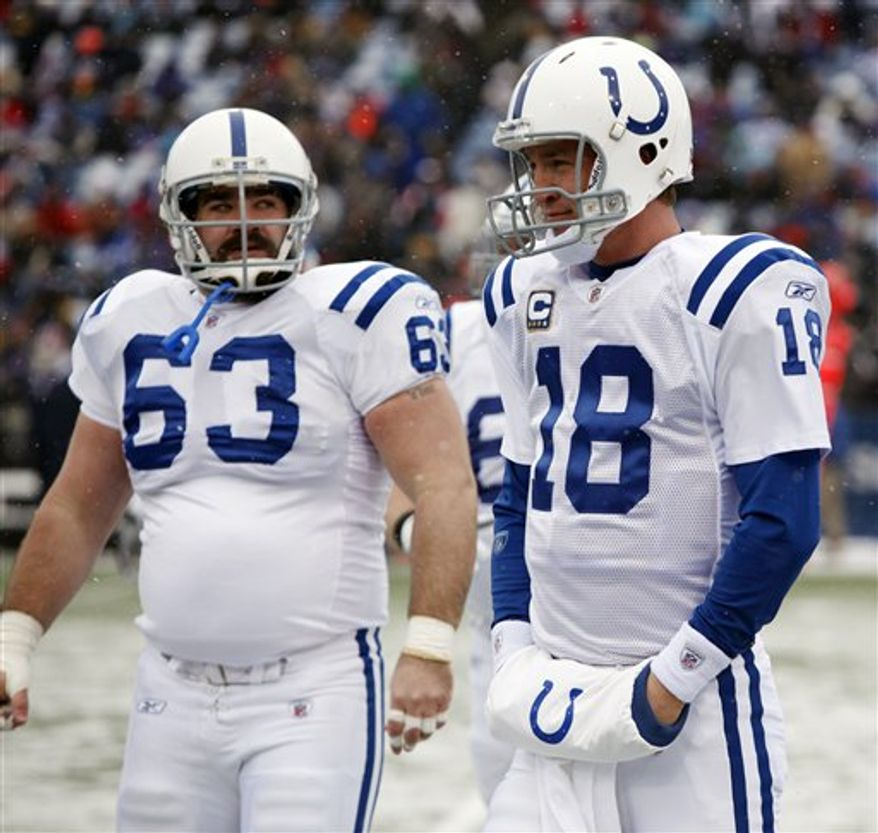 """FILE - This Jan. 3, 2010, file photo shows Indianapolis Colts' Peyton Manning walking off the field with Jeff Saturday (63) during the first half of the NFL football game in Orchard Park, N.Y.  The Indianapolis Colts say Pro Bowl center Jeff Saturday has had arthroscopic knee surgery to remove a """"loose body"""" and has started rehabilitation. Saturday is one of the Colts' most durable, consistent and experienced players. He has missed only six games since winning the starting job in 2000.  (AP Photo/ David Duprey, File)"""