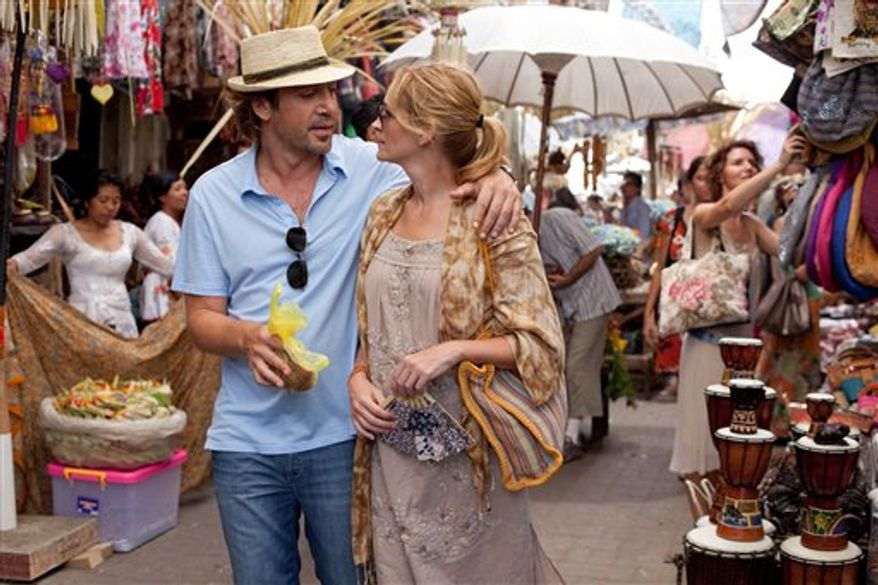 "In this film publicity image released by Sony, Javier Bardem, left, and Julia Roberts are shown in a scene from ""Eat, Pray, Love."" (AP Photo/Sony, Francois Duhamel)"