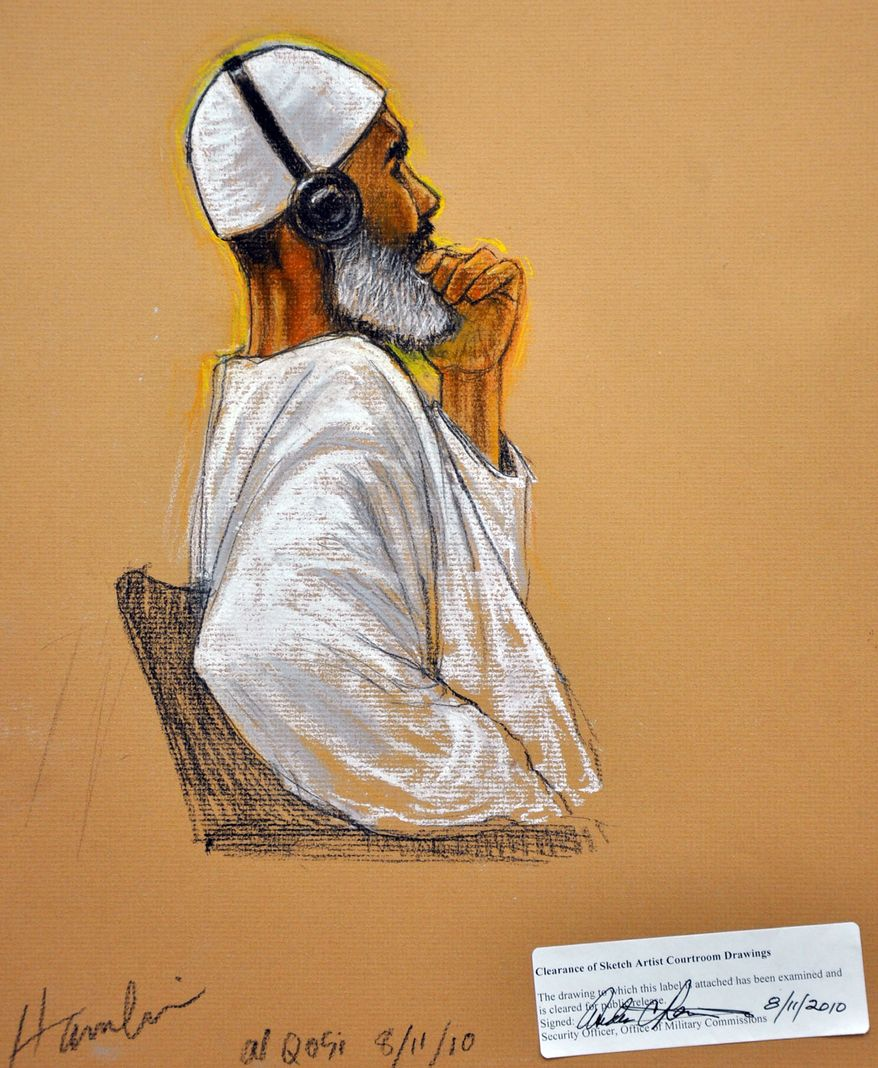 In this photo of a sketch by courtroom artist Janet Hamlin and reviewed by a U.S. Department of Defense official, Ibrahim Ahmed Mahmoud al-Qosi, a 50-year-old al Qaeda cook from Sudan, attends his war crimes trial Wednesday at the Camp Justice compound on Guantanamo Bay U.S. Naval Base in Cuba. (Associated Press)