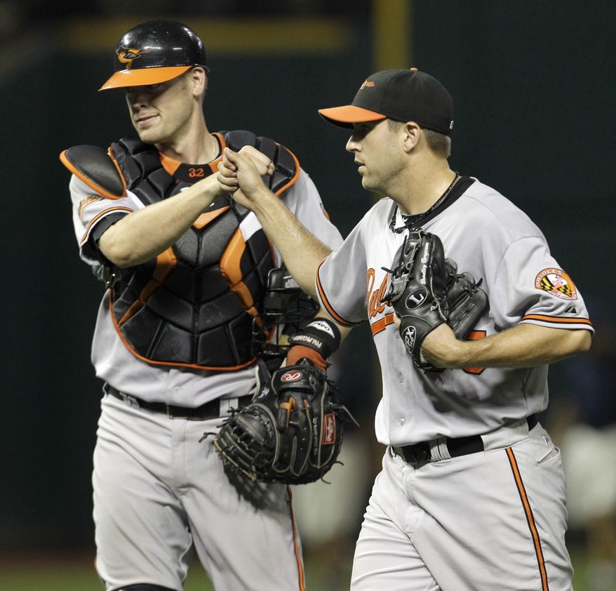 ASSOCIATED PRESS Baltimore Orioles starting pitcher Brad Bergesen is congratulated by catcher Matt Wieters after Bergesen threw a two-hitter in the Orioles' 3-1 win over the Cleveland Indians in a baseball game in Cleveland on Wednesday, Aug. 11, 2010.