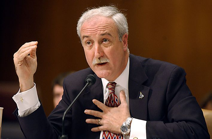 Ex-NASA chief Sean O'Keefe, seen in this March 11, 2004 file photo in Washington, was on board a small plane that crashed on August 9, 2010 in rural Dillinham, Alaska. Sen. Ted Stevens (R-AK) was also believed to be onboard the aircraft and it is unknown if there are any survivors. UPI/Roger L. Wollenberg/File