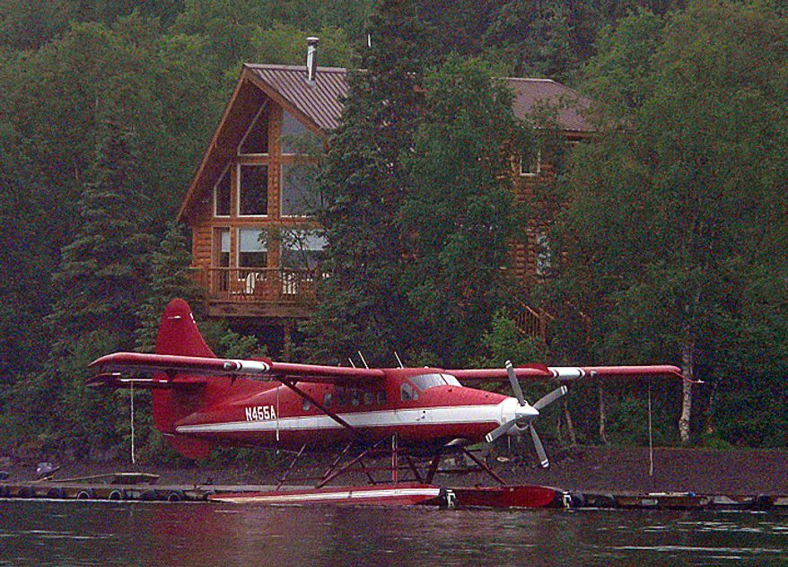 This July 15, 2009 photo, released by Louie Balukuoff, shows an aircraft with tail number N455A, and  taken near the GCI Lodge on Lake Nerka, near Aleknagik, Alaska. The National Transportation Safety Board reports that at about 8:00 p.m. Alaska Daylight Time on Monday, Aug. 9, 2010, a DeHavilland DHC-3T with tail number N455A crashed 10 miles northwest of Aleknagik, Alaska.   (AP Photo/Louie Balukuoff)