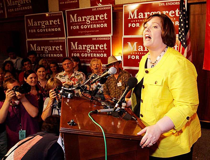 Democratic Party endorsed gubernatorial candidate Margaret Anderson Kelliher addresses supporters as they wait for primary results in Minneapolis early Wednesday, Aug. 11, 2010. (AP Photo/Andy King)