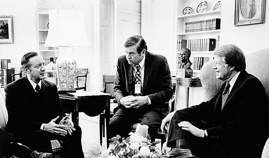Pres. Jimmy Carter, right, chats with acting Chicago Mayor Michael Bilandic, left, and Rep. Dan Rostenkowski, D-Ill., at the White House, Monday, Feb. 7, 1977, Washington, D.C. News photographers were not permitted to photograph the meeting. (AP Photo/ White House)