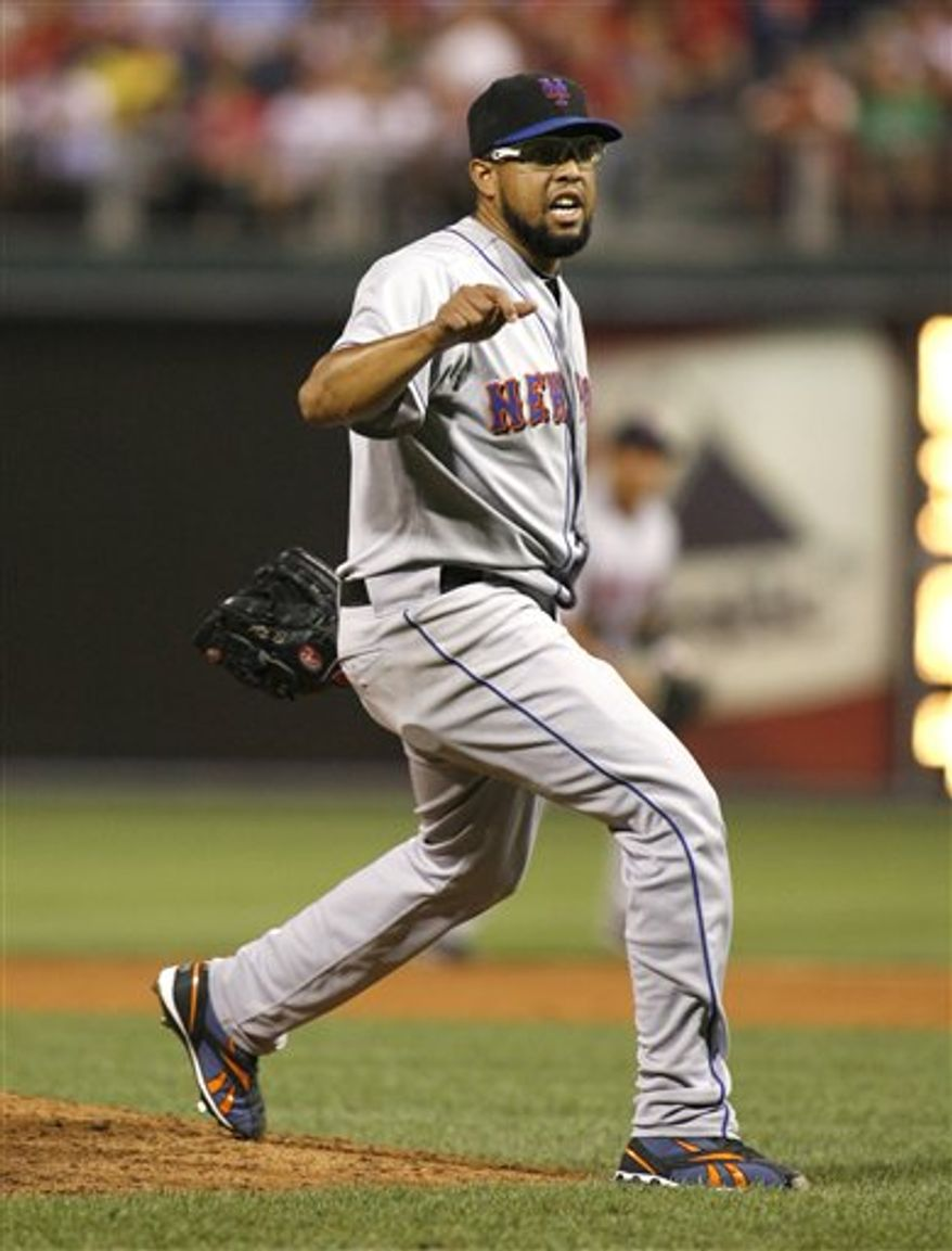 "FILE - New York Mets  pitcher Francisco Rodriguez celebrates after striking out Philadelphia Phillies' Domonic Brown to end the ninth inning of a baseball game in this Aug. 7, 2010 file photo taken in Philadelphia. Rodriguez is in custody after what police called a ""physical assault"" with his father-in-law after the Mets' 6-2 loss to the Colorado Rockies at Citi Field Wednesday Aug. 11, 2010.  (AP Photo/H. Rumph Jr, File)"