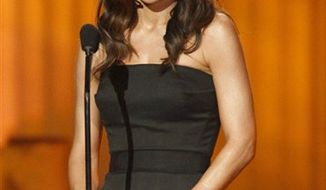FILE - In this June 27, 2010 file photo, Vanessa Marcil Giovinazzo presents an award at the 37th Annual Daytime Emmy Awards in Las Vegas. (AP Photo/Eric Jamison, file)
