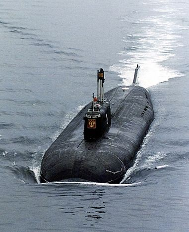 This1999 photo shows the Russian nuclear submarine Kursk in the Barents Sea near Severomorsk, Russia. The Kursk, one of the biggest and newest submarines in the Russian navy, is trapped at a depth of 354 feet, above the Arctic Circle in the Barents Sea and rescue attempts continue Tuesday August 15, 2000. (AP Photo)